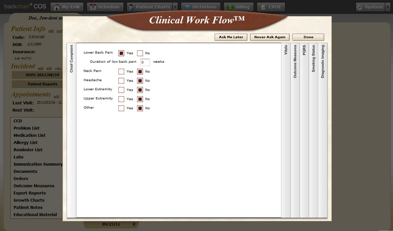 Clinical Decision Support   BackChart® COS Support